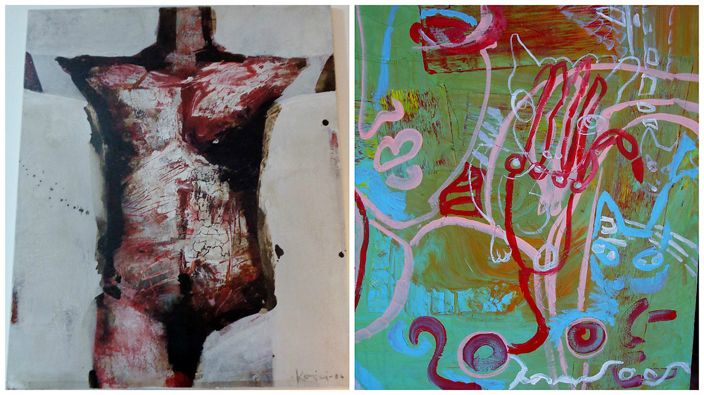 Albania: (1) Oil on canvas by Genti Korini (2004) and (2) oil on canvas by Zanfira Heta (2003)