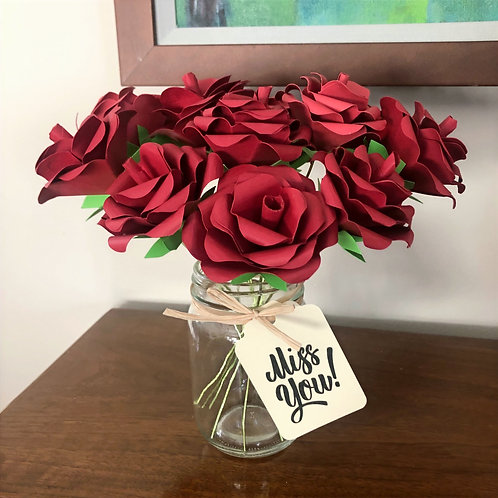 Red Roses Paper Flower Arrangement