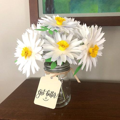 White Daisies Paper Flower Arrangement