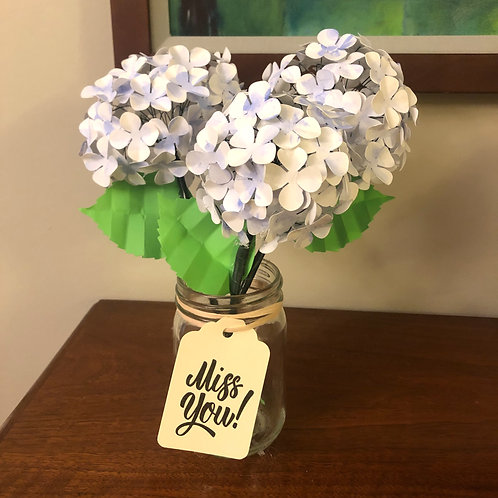 White and Blue Hydrangea Paper Flower Arrangement