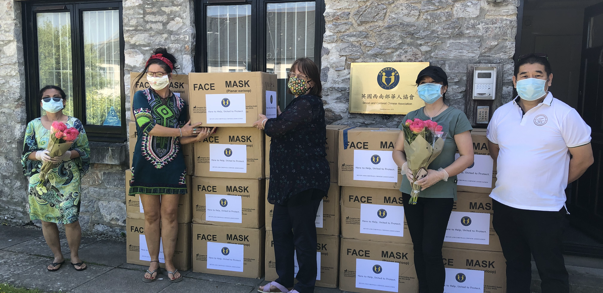 Handing out a box of 2000 PPE masks to the lovely volunteers from Plymouth Labour Community Action.
