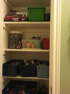 reorganized hall closet