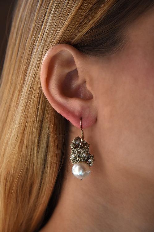 Χειροποίητα πλεκτά σκουλαρίκια από νήμα χρυσοχοΐας & ασήμι 925