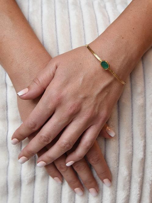 Χειροποίητο βραχιόλι από ασήμι 925 επιχρυσωμένο με green agate