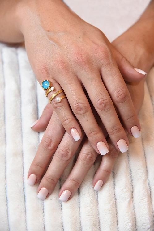 Χειροποίητο δαχτυλίδι απο ασήμι 925 επιχρυσωμένο με turquoise quartz& pearls