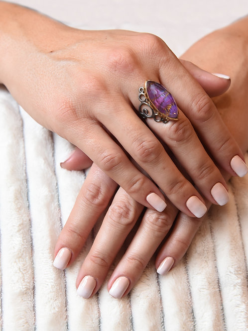 Χειροποίητο δαχτυλίδι από ασήμι 925 με copper purpple quartz