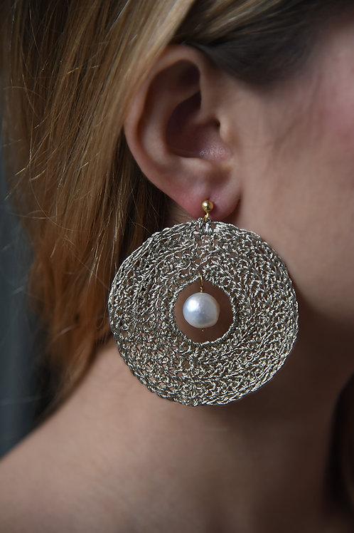 Xειροποίητα πλεκτά σκουλαρίκια απο νήμα χρυσοχοϊας & ασήμι 925