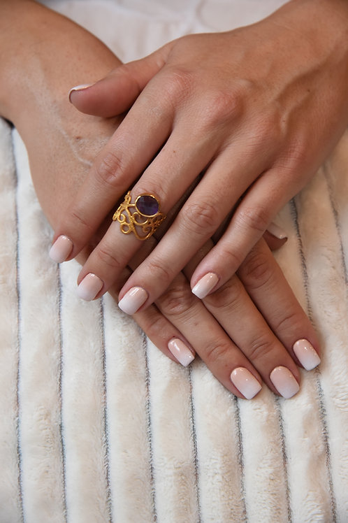 Χειροποίητο δαχτυλίδι από ασήμι 925 επιχρυσωμένο με amethyst