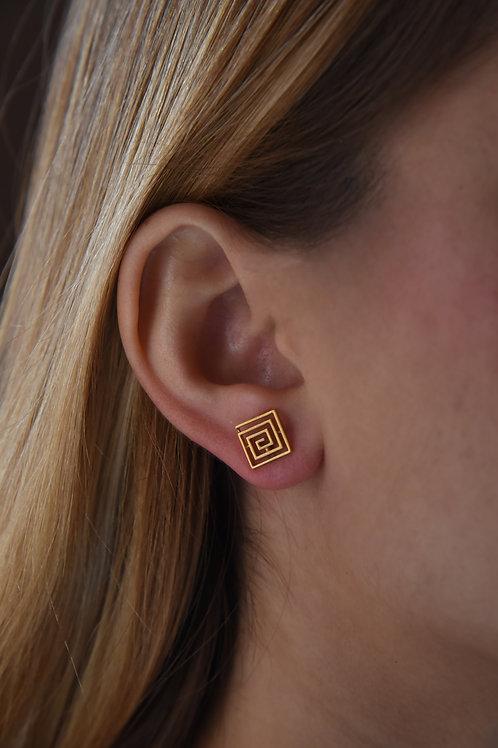 Χειροποίητα σκουλαρίκια λαβύρινθος από ασήμι 925 επιχρυσωμένα