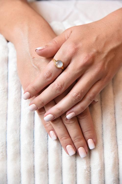 Χειροποίητο δαχτυλίδι από ασήμι 925 επιχρυσωμένο με fildisi quartz