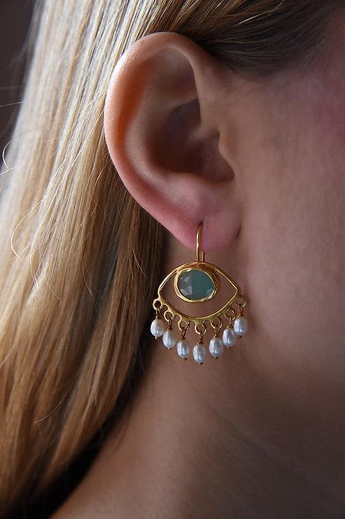 Χειροποίητα σκουλαρίκια από ασήμι 925 επιχρυσωμένα με chalkedony & pearls