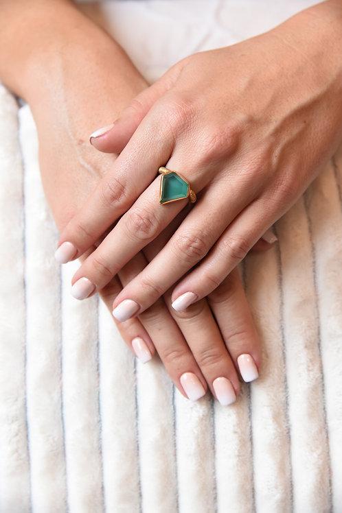 Χειροποίητο δαχτυλίδι από ασήμι 925 επιχρυσωμένο με green agate quartz