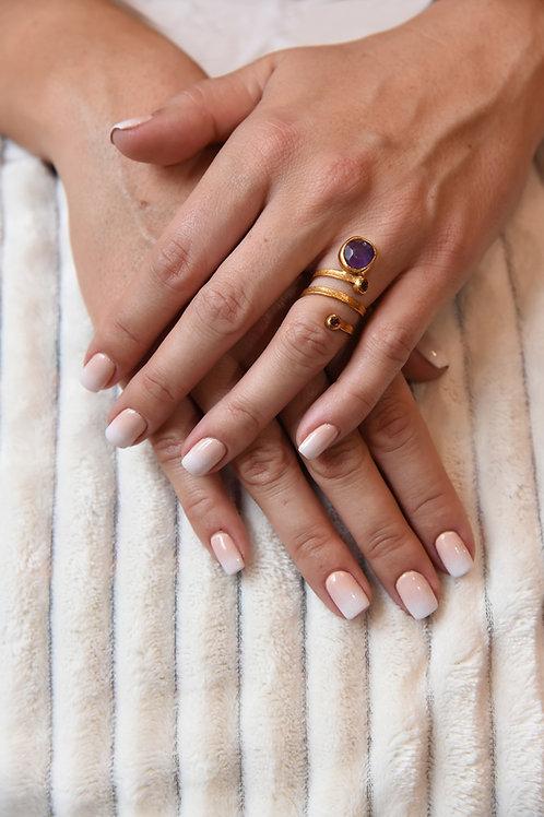 Χειροποίητο δαχτυλίδι από ασήμι 925 επιχρυσωμένο με amethyst rhodolite