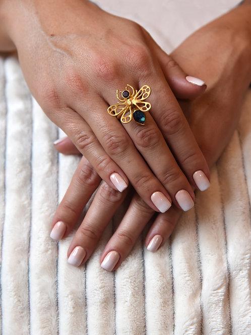 Χειροποίητο δαχτυλίδι από ασήμι 925 επιχρυσωμένο με azourite with malachite quar