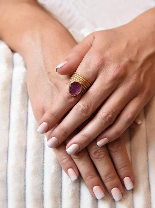 Χειροποίητο δαχτυλίδι από ασήμι 925 επιχρυσωμένο με ruby quartz