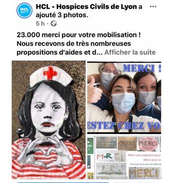 publication Facebook Hopital de la croix rousse Lyon 4