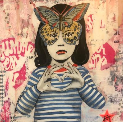 """""""Miss Butterfly"""" 80 x 80 cm"""