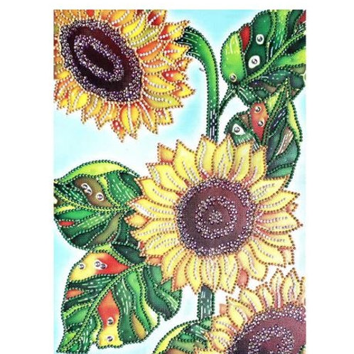 DIY Triple Sunflower Diamond Painting, 5D Partial Drill Round 30*40cm