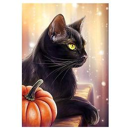 Black cat w/pumpkin Autumn Diamond Painting Art Kit 5D Full Drill Round 35*45 cm