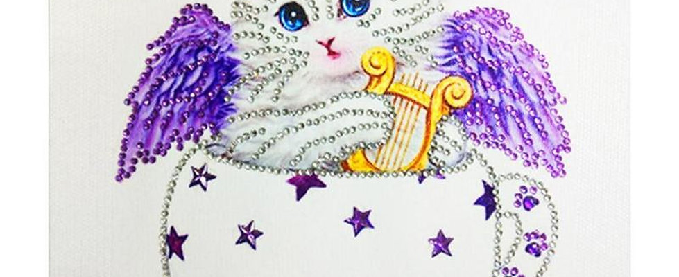 DIY Cupid Cat in tea cup, Diamond Painting Kit, 5D Partial Drill, Round 30*30cm