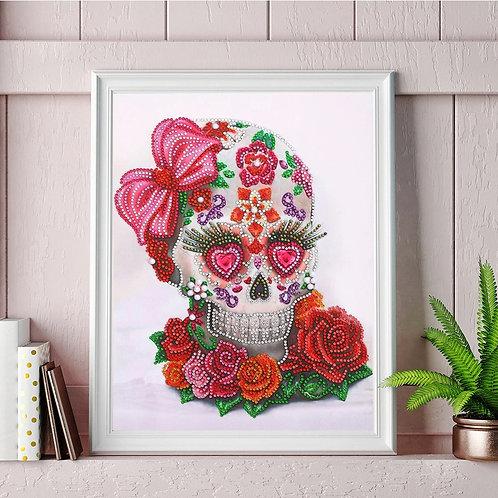 DIY Valentina Skull Diamond Painting Kit, 5D Partial Drill Round 30*40cm