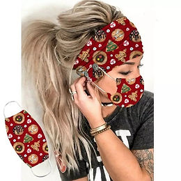 2pc Hair band and Mask Cookie Design Holiday, yoga hairband set