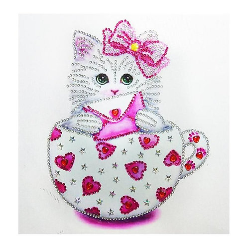 DIY Cat in heart tea cup, Diamond Painting Kit, 5D Partial Drill, Round, 30*30cm