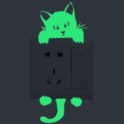 Glow in the Dark Cat Wall / Outlet Sticker