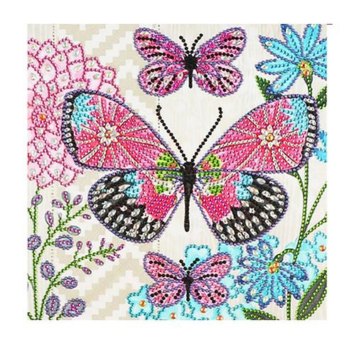 DIY Butterflies Diamond Painting, 5D- Partial Drill, Round 30*30cm