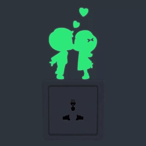 Glow in the Dark Boy & Girl Kissing Heart Wall / Outlet Sticker