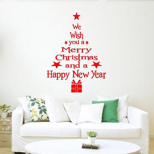 Christmas & New Year Word Wall / Window Decal Christmas Shape w/ Stars & Present
