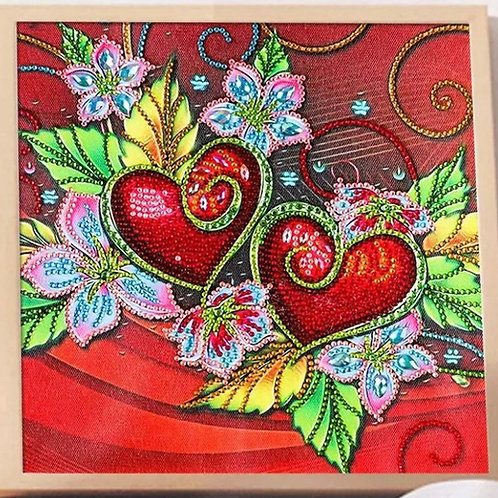 DIY Double Red Heart Diamond Painting Kit, 5D Partial Drill, Round, 30*30cm
