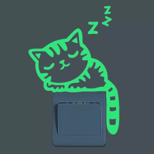 Glow in the Dark Sleeping Kitty Cat Wall / Outlet Sticker