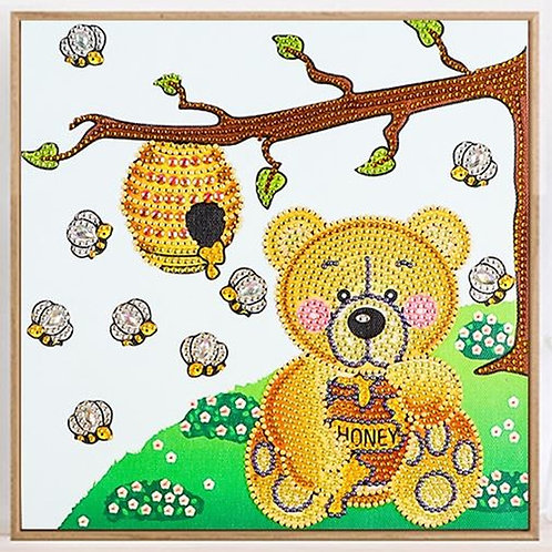 Bear & Honey Bees Diamond Painting Kit, 5D- Partial Drill, Round 30*30cm