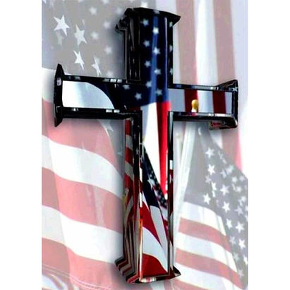 Cross & USA Flag memorial Day fourth of