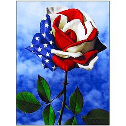 American Flag Rose Diamond Painting Art Kit, 5D, Full Drill, Round 35*45cm