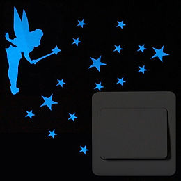 Blue Glow in the Dark Fairy with Stars Wall / Outlet Sticker, Decal