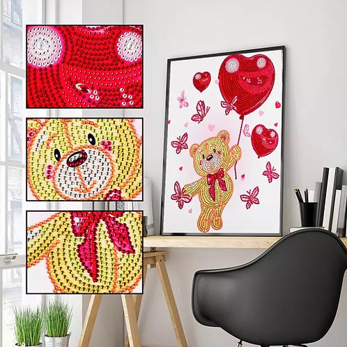 Teddy's Floating Heart Diamond Painting, 5D Partial Round Drill 30*40cm