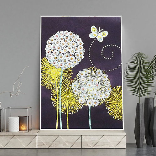 DIY Dandelion & Butterfly Plant Diamond Painting, 5D Partial drill Round 30*40cm