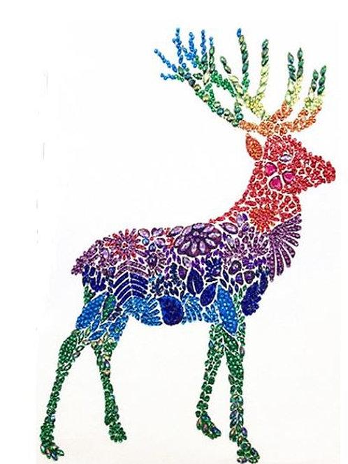 DIY Rainbow Deer Diamond Painting, 5D Partial Round Drill 30*40cm