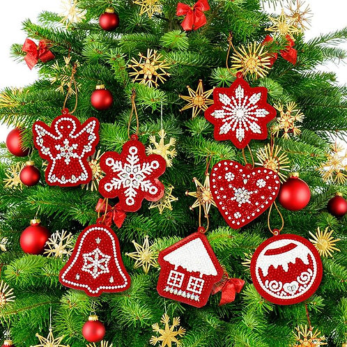 DIY Diamond Painting Red Christmas Holiday Tree Ornament / Gift Tag