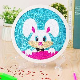 Bunny Rabbit Diamond Painting Kit for Kids Framed Stand