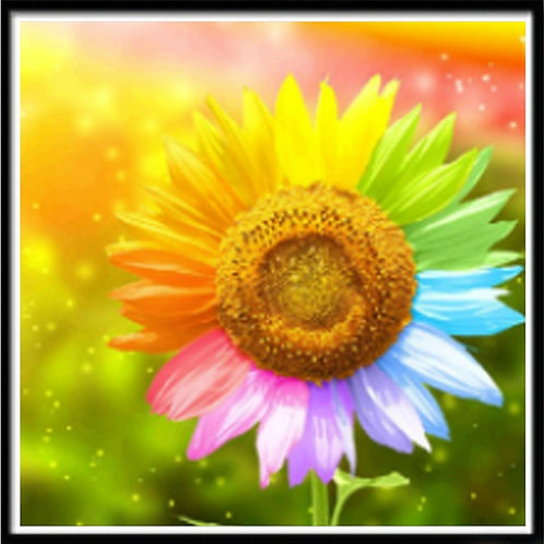 Colorful Sunflower Diamond Painting Kit, 5D- Partial Drill, Round 30*30cm