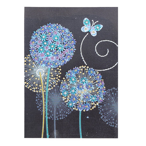 DIY Blue Dandelion & Butterfly Diamond Painting, 5D Partial Drill Round 30*40cm