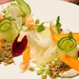 Carrot, zucchini, lettuce salad with savory granola and exotica