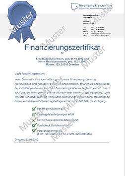 Finanzierungszertifikat und Bestätigung Standard