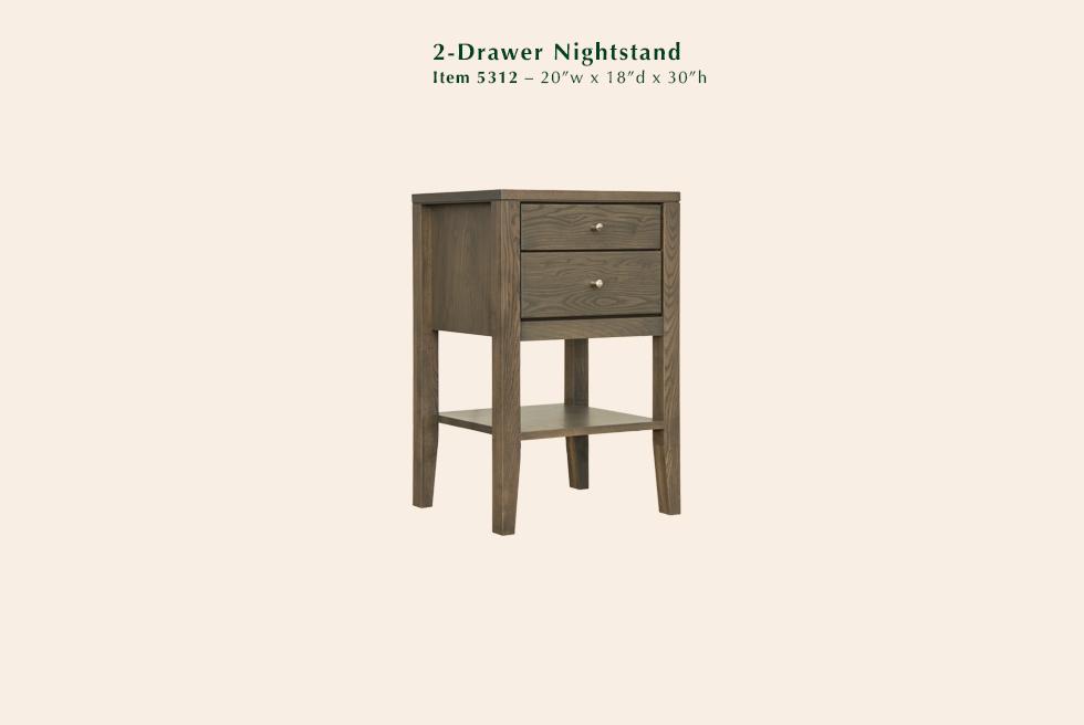Calvin 2 Drawer Nightstand