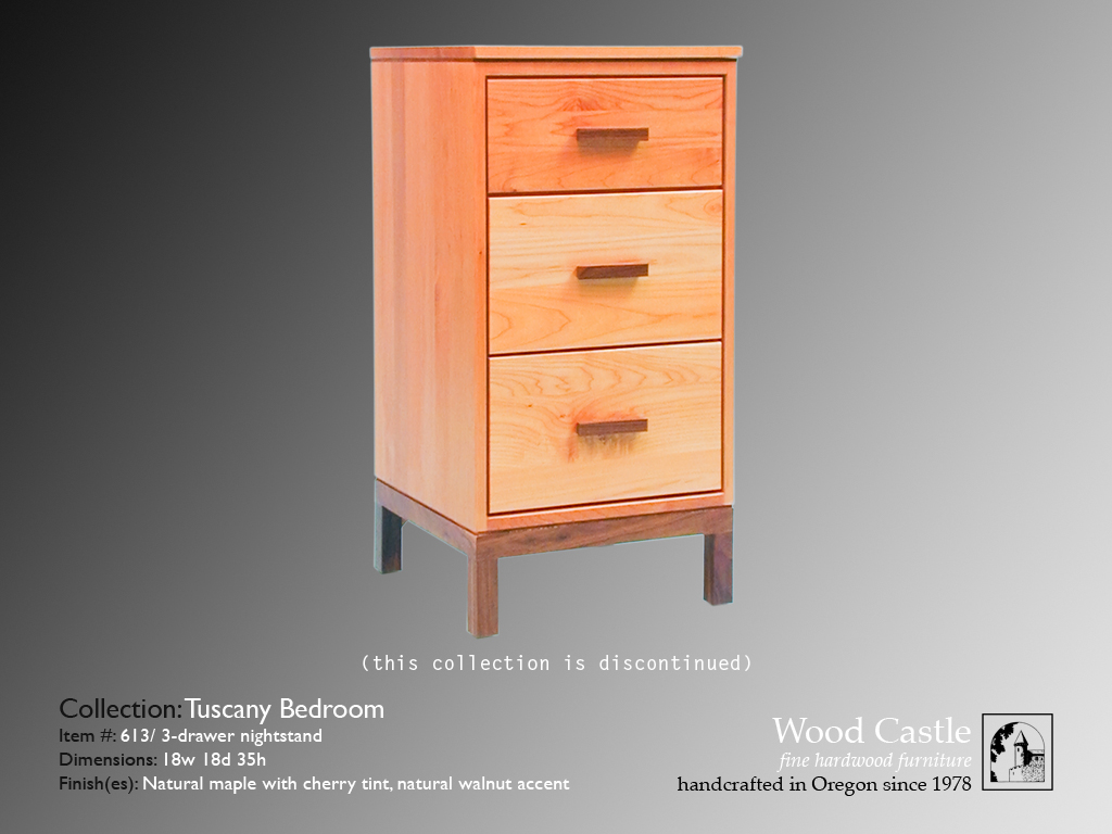 Tuscany maple 613 3-drawer nightstand