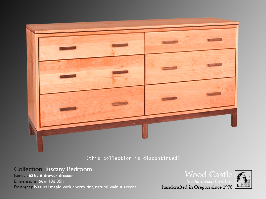 Tuscany maple 636 6-drawer dresser