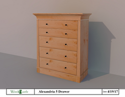 Alexandria 5 Drawer - Maple